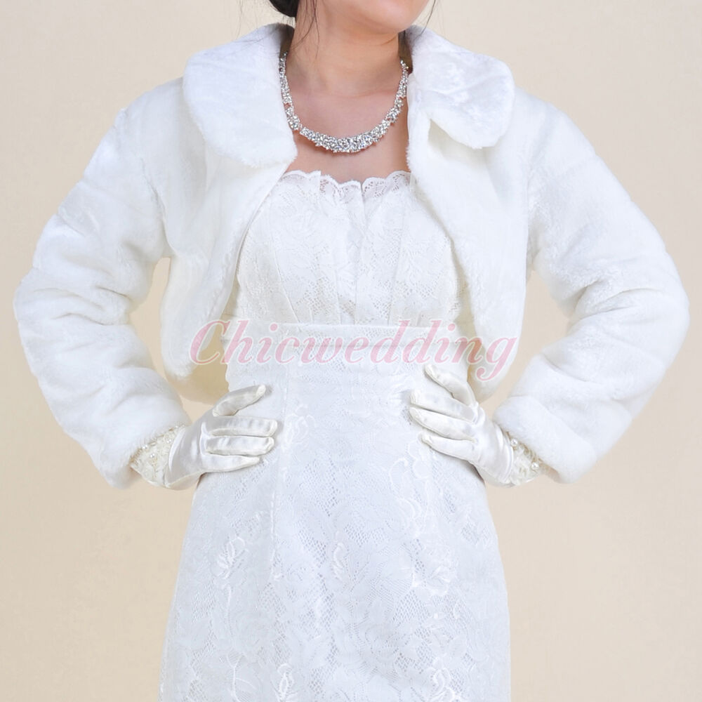 Ivory long sleeve faux fur wedding jacket shawl bridal for Dress jackets for wedding
