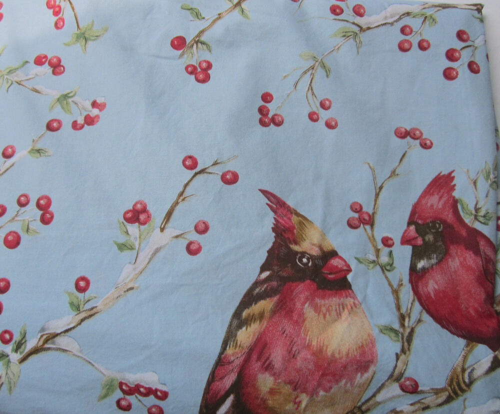 Pottery Barn Cardinal Duvet Cover Twin Blue Birds Red Winter Cotton Excellent Ebay