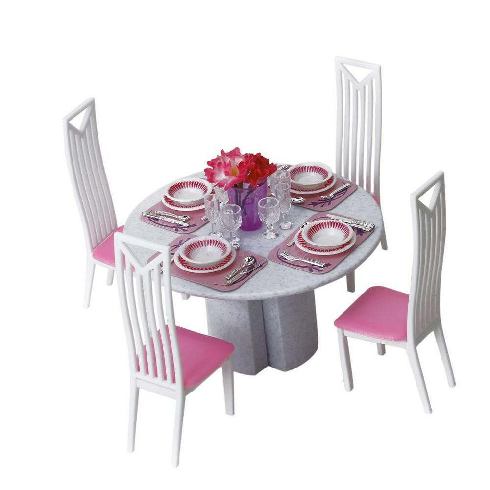 Dining Room Play: Dollhouse Furniture Dining Room Assembling Table Play Set