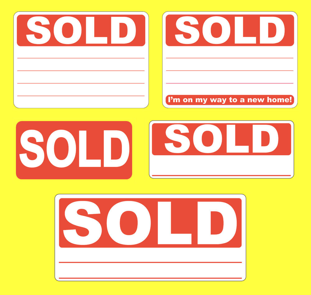 Red SOLD Stickers / Swing Tag Labels / Sticky Labels - Removable Adhesive : eBay