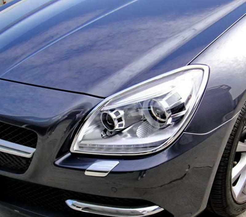 Mercedes slk r172 chrome headlight trim ebay for Mercedes benz chrome accessories