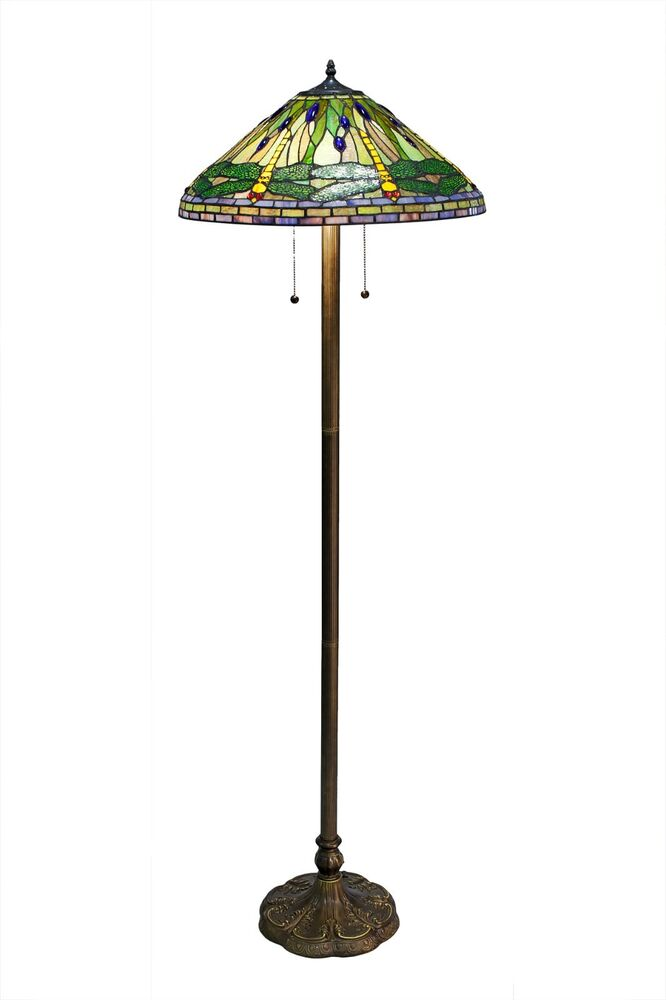 tiffany style green dragonfly floor lamp stained glass. Black Bedroom Furniture Sets. Home Design Ideas