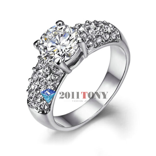 d2a87bc86 Details about 2CT Simulated Diamond Engagement Rings 18K White Gold Plated Swarovski  Crystal