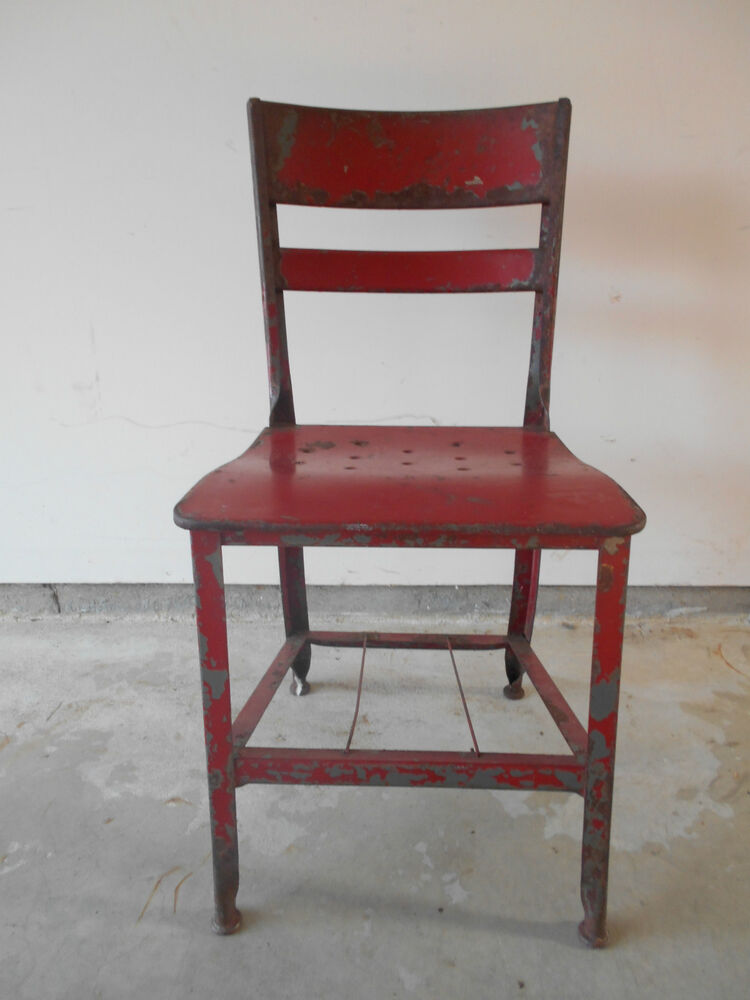 OLD MILITARY STUDENT S METAL DESK CHAIR FROM VIRGINIA