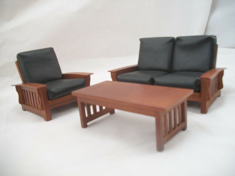 living room set craftsman mission style dollhouse furniture 1 12