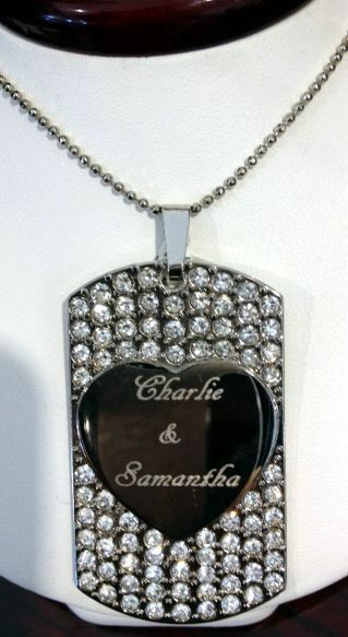 personalized customized engraved blinged out cz dog tag. Black Bedroom Furniture Sets. Home Design Ideas