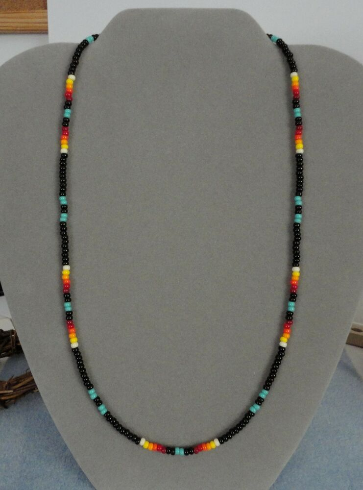 Turquoise Black Beaded Mens Womens Necklace Native