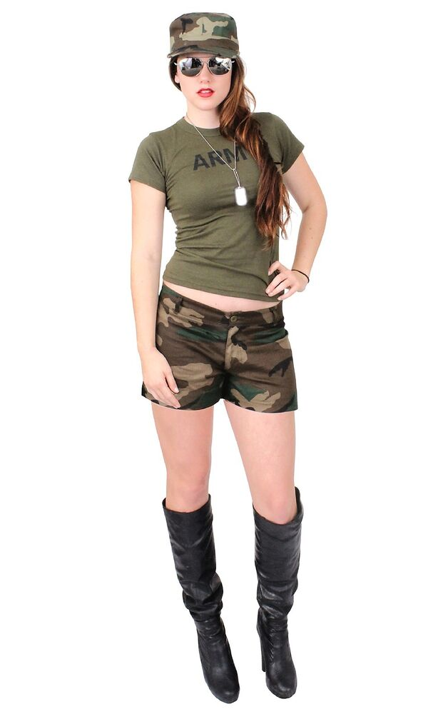 Sexy Army Chick Costume Military Adult Woman Hot Girl Camo ...