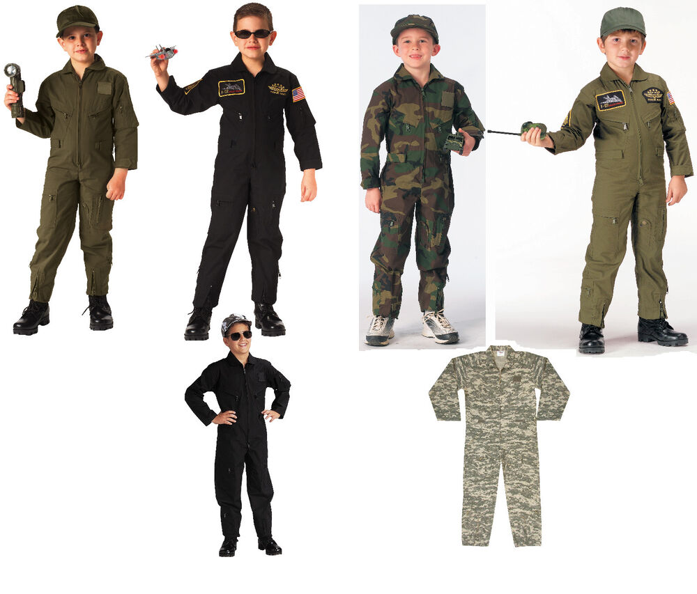 Kids Air Force Flight Suit Optional Insignia Od Black