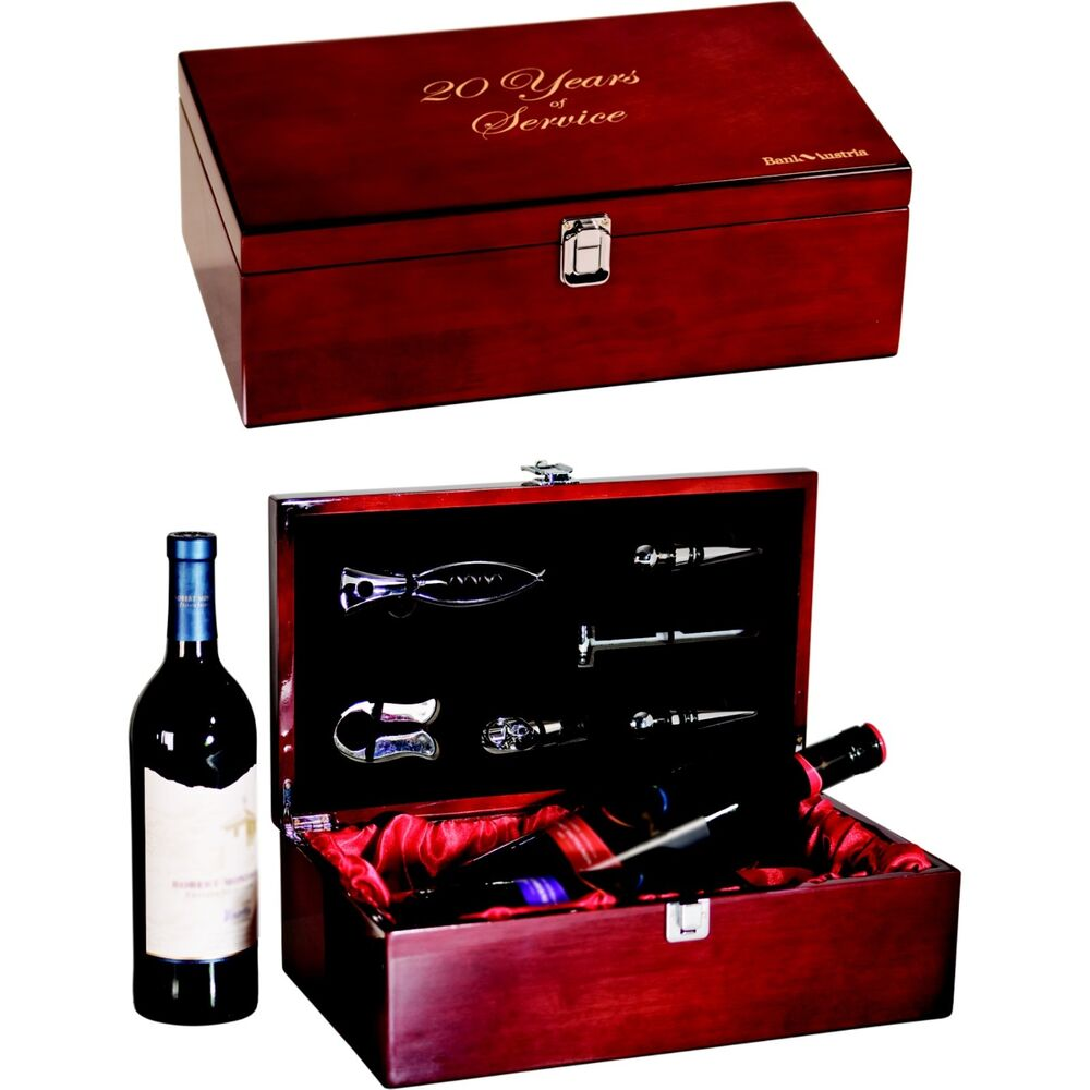 Rosewood Double Wine Box With Custom Engraved Lid