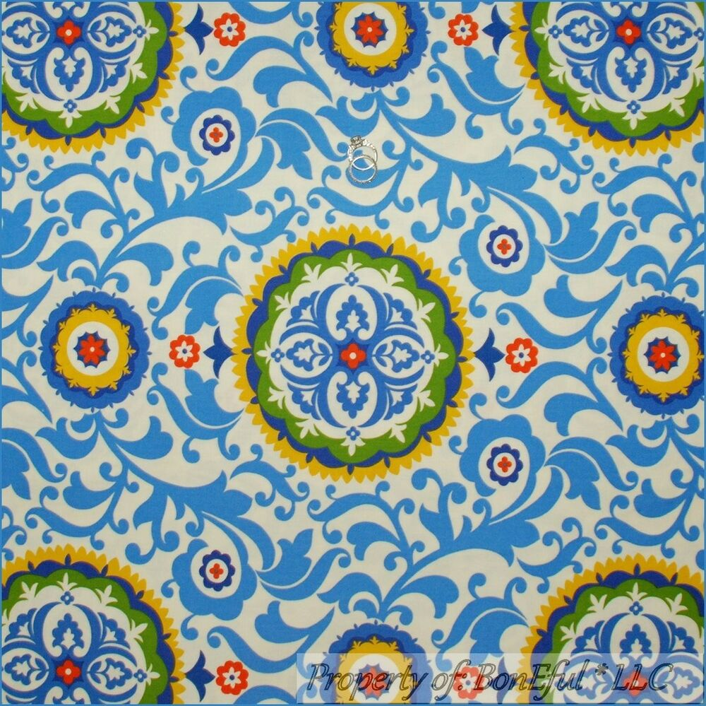 Boneful fabric fq woven decor white blue green yellow for Decor 55 fabric