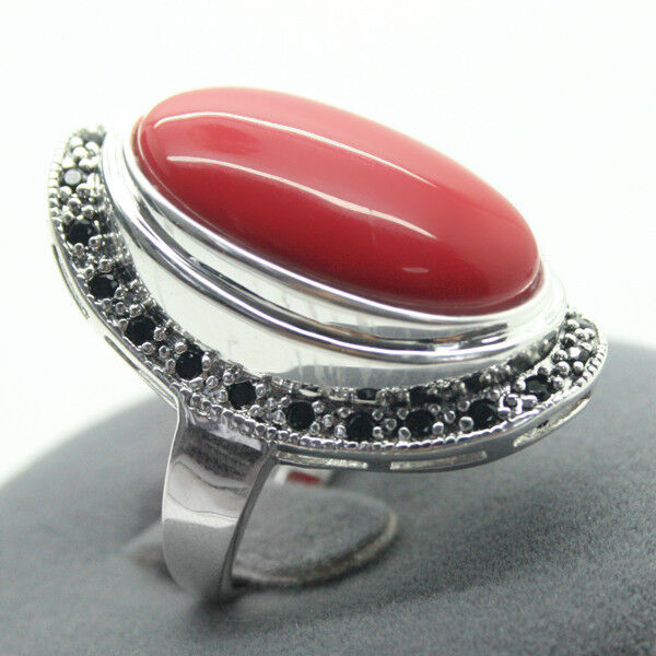17x30mm Red Coral Gemstone 925 Sterling Silver Marcasite