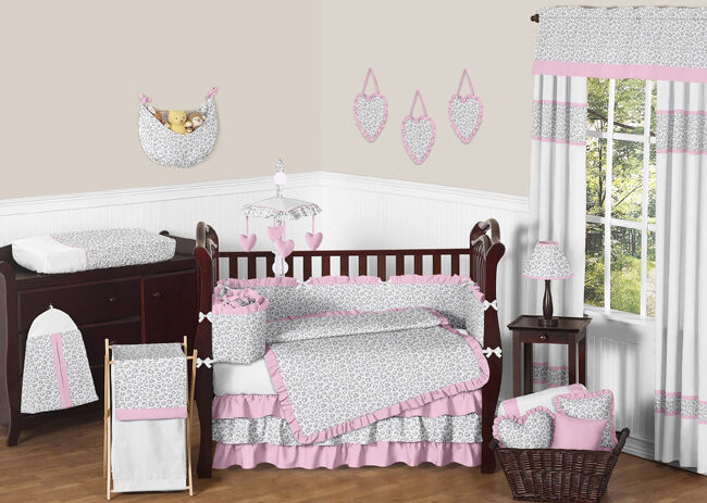 PINK AND GREY SWEET JOJO DESIGNS CHEETAH ANIMAL PRINT BABY GIRL CRIB BEDDING SET