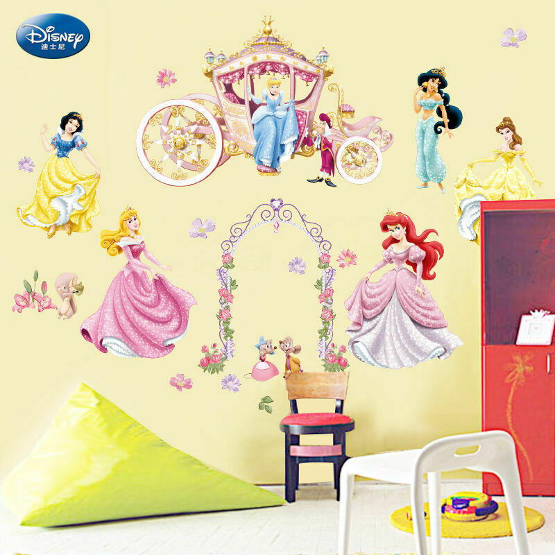 Disney princess girls wall stickers nursery vinly decal for Disney princess wall mural stickers