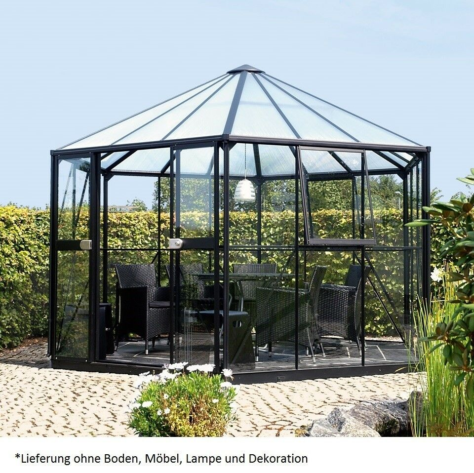 vitavia glas pavillon hera 9000 esg 9m fundament gew chshaus 261815 schwarz ebay. Black Bedroom Furniture Sets. Home Design Ideas