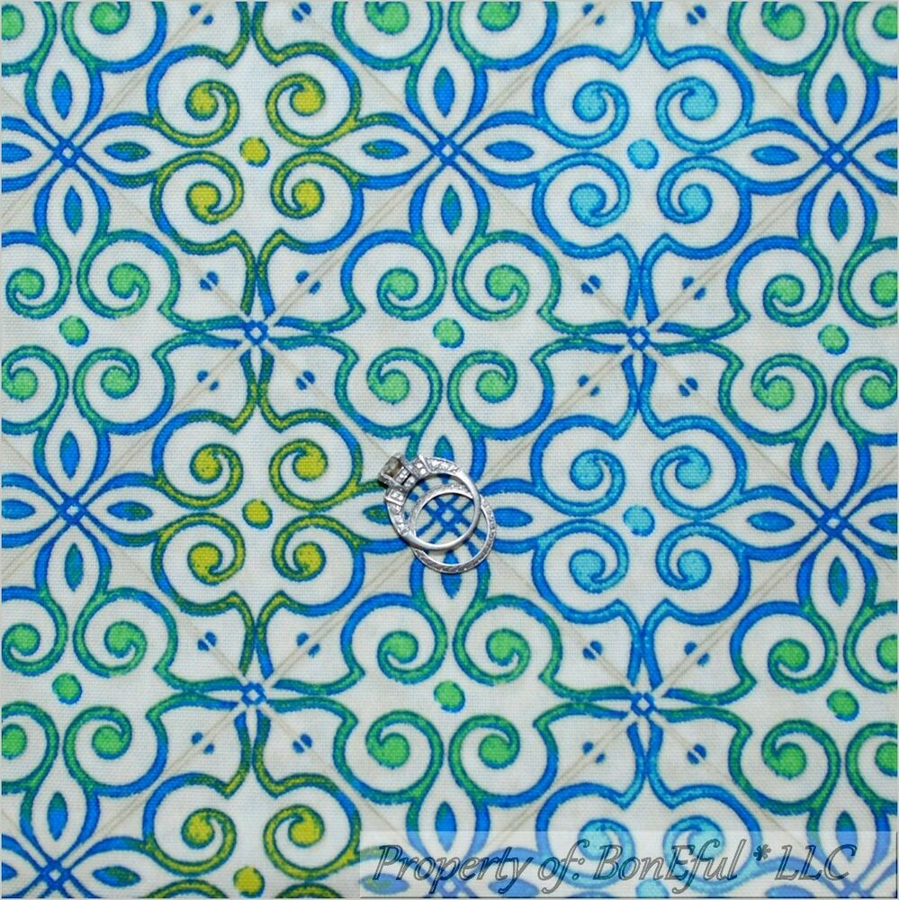 Boneful fabric fq decor woven white blue green aqua swirl for Fabric mural designs