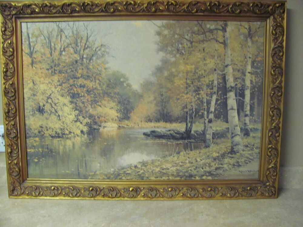 Vintage robert wood oil painting reproduction large with for Framed reproduction oil paintings