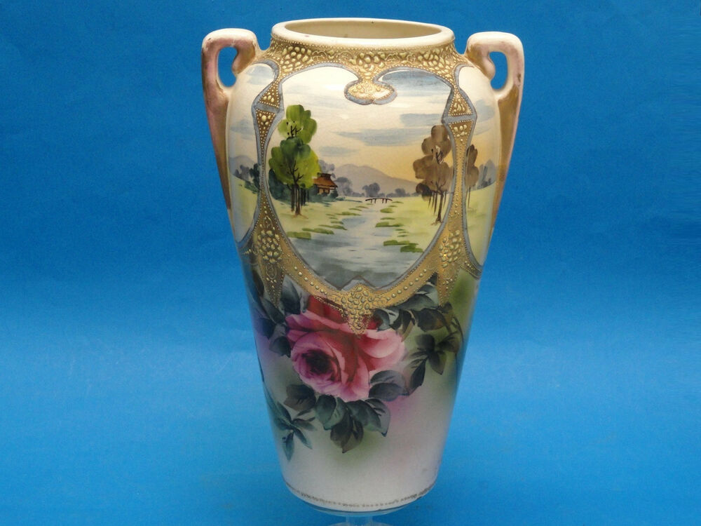 Antique Nishiki Royal Nippon Raised Moriage Japanese Vase Scenic 12 5 Quot Ebay