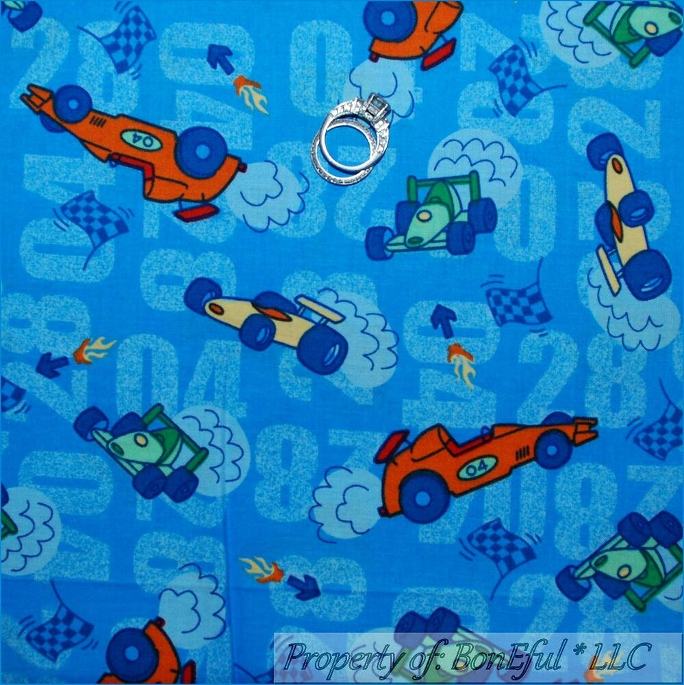 Boneful fabric fq cotton quilt blue baby boy nursery race for Boy nursery fabric