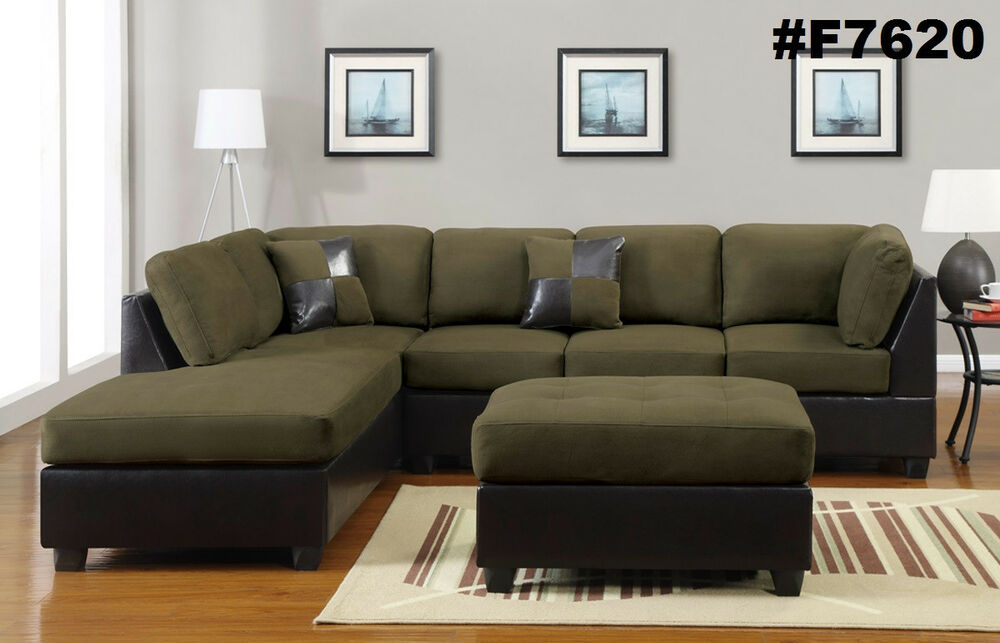 Sectional sofa furniture microfiber sectional couch 3 pc - Microfiber living room furniture sets ...