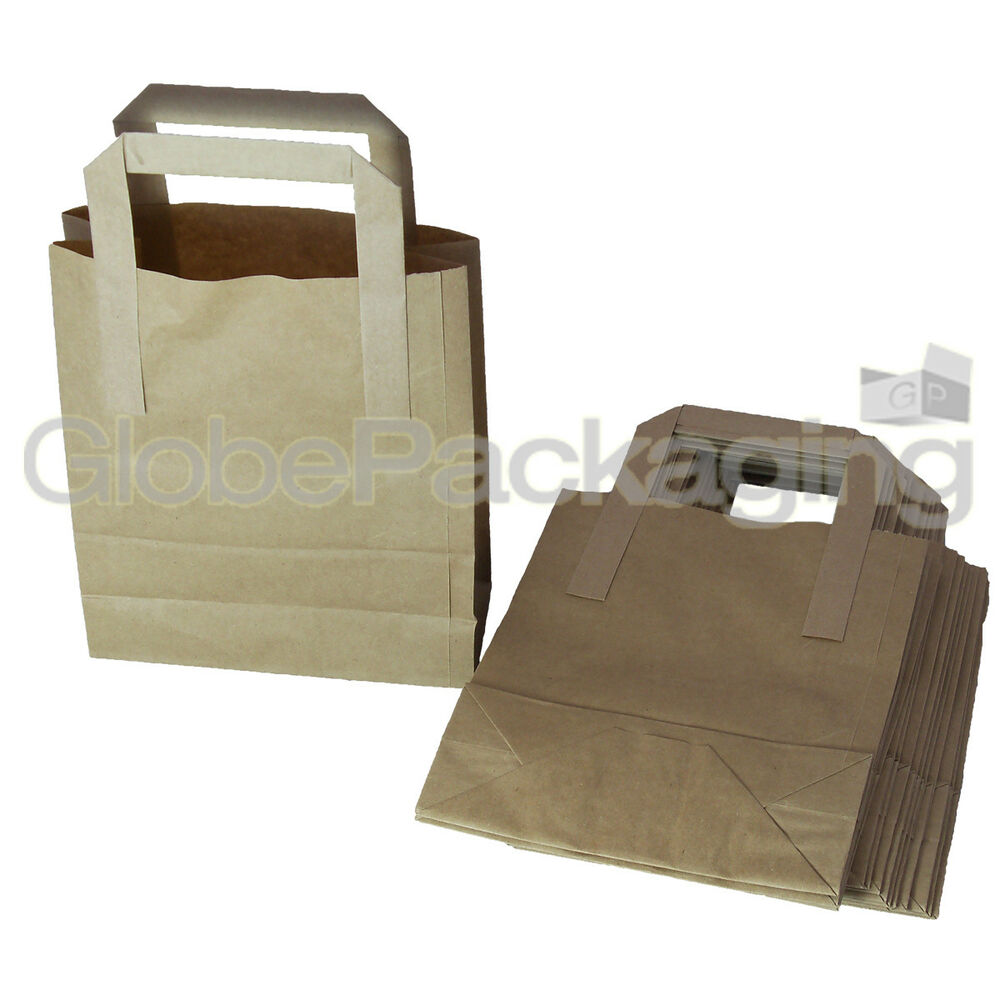 100 Small Brown Kraft Paper Carrier Sos Bags 7x3 5x8 5