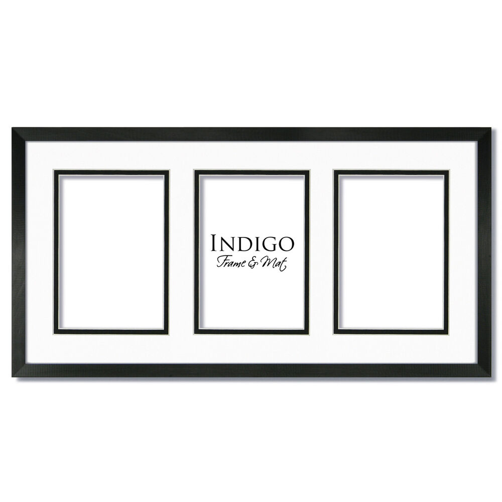 Set Of 3 10x20 Black Wood Frames Glass White Black Mat