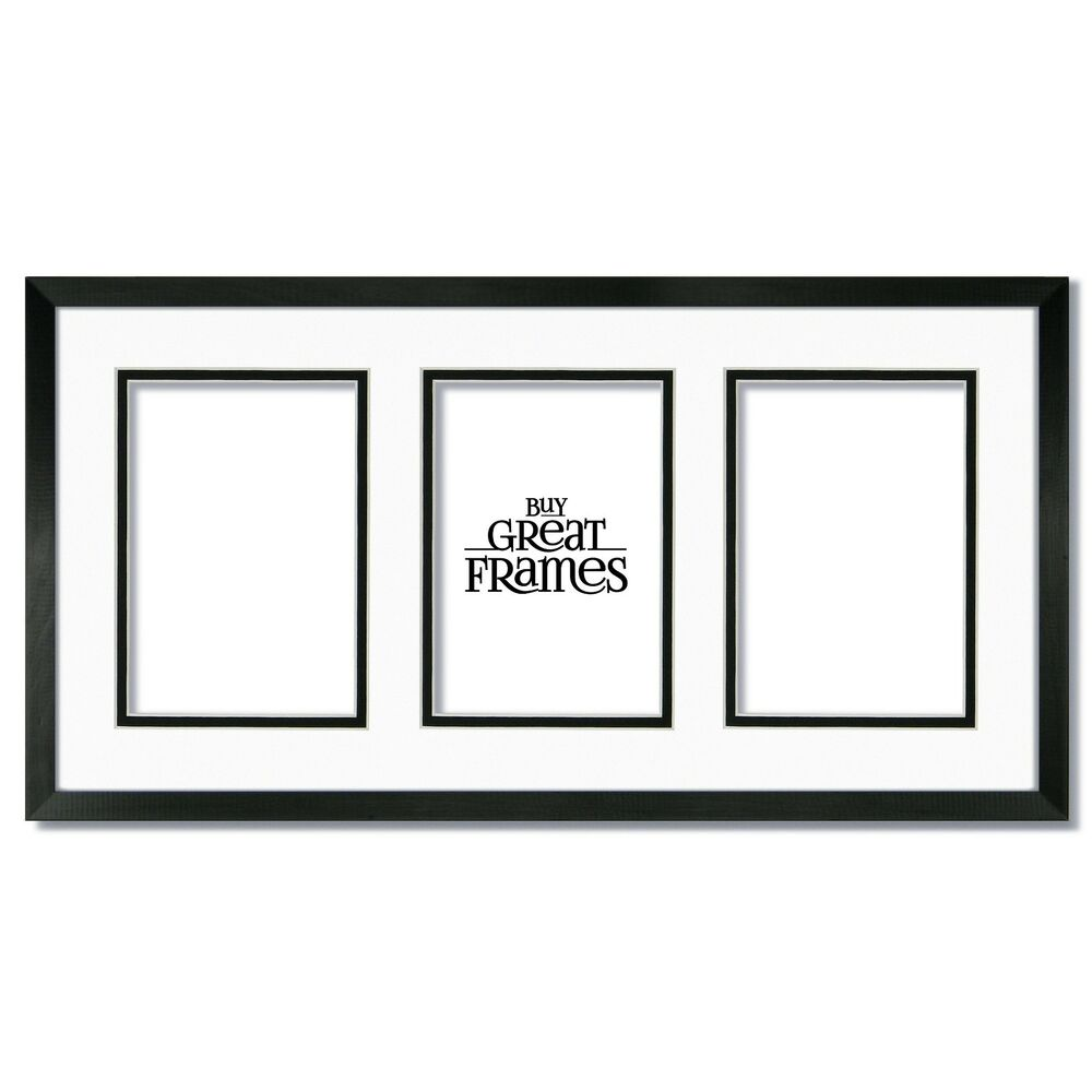 One 10x20 Black Wood Frame Glass White Black Mat For