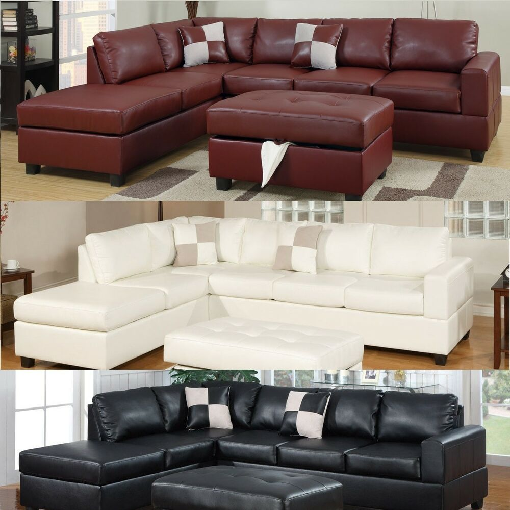 Sectional sofa leather sofa set sectional couch 3 pc living room set in 4 colors ebay Living rooms with leather sofas