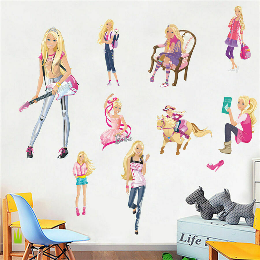 Barbie wall stickers girls nursery decor removable vinyl for Barbie wall mural