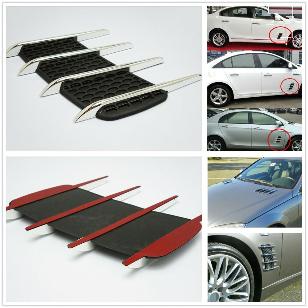 Chrome Silver Exterior Decorative Hood Side Vent Air Flow Intake Grille Sticker Ebay