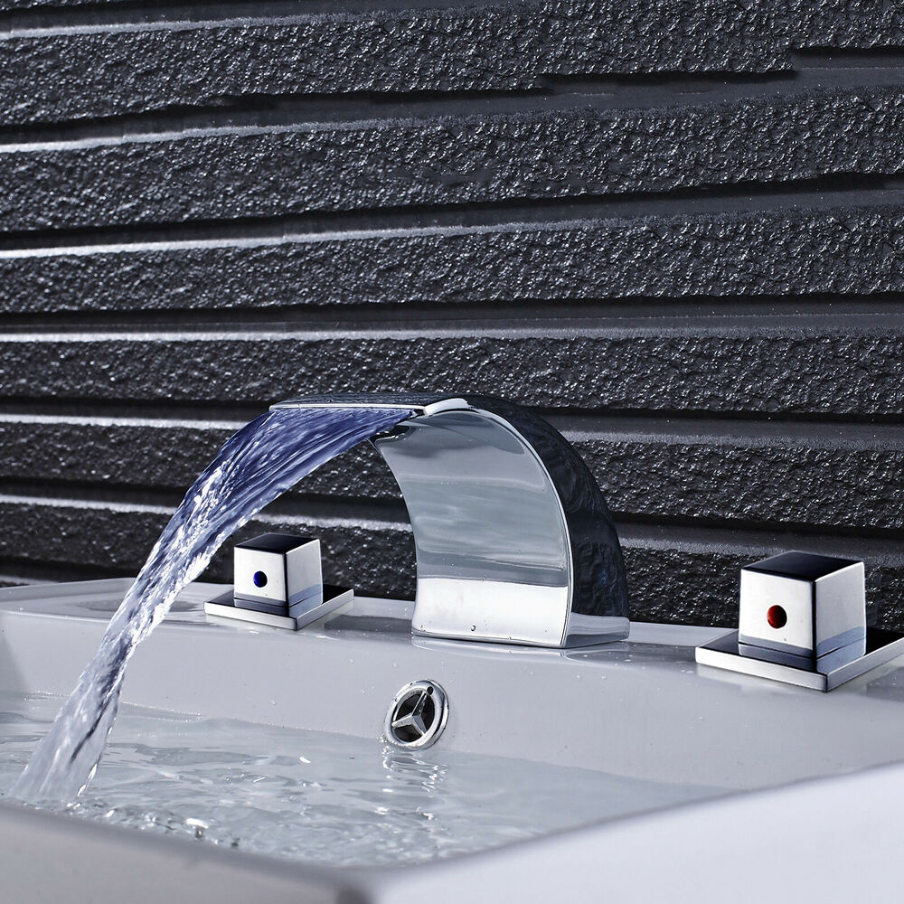 Wall Mount Led Colors Waterfall Spout Bathroom Sink Faucet