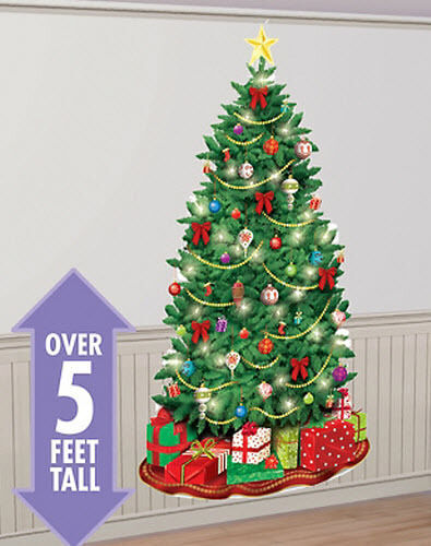 Christmas Wall Scene Decorations : Christmas tree setter holiday party wall decor kit