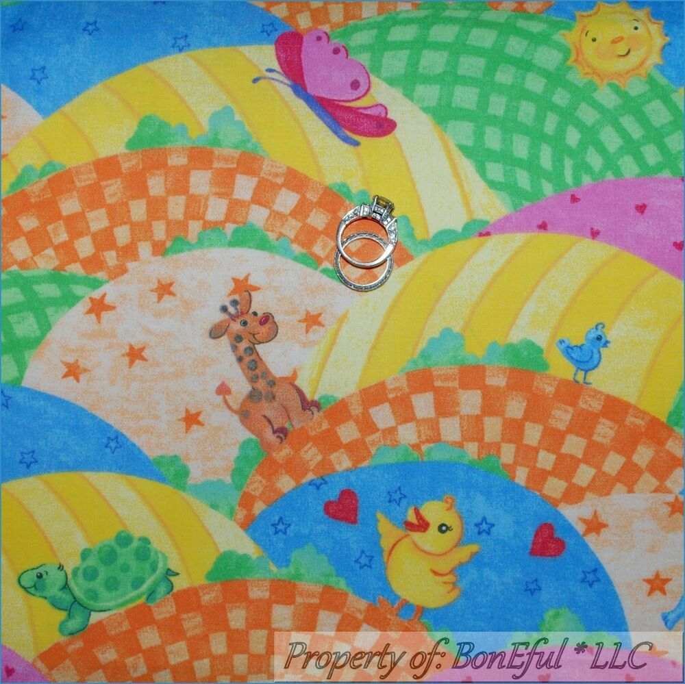 Boneful fabric fq cotton vtg scenic baby nursery animal for Nursery monkey fabric