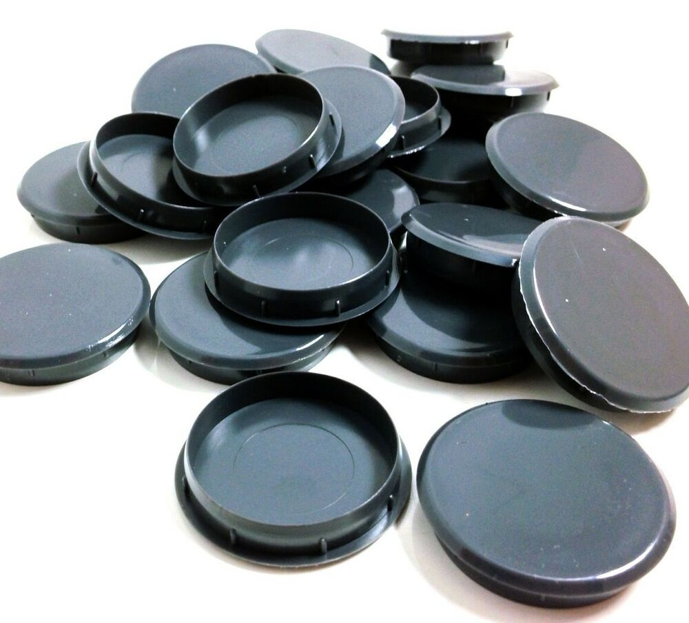 35mm Gloss Grey Plastic Hinge Hole Cover Caps For Kitchen