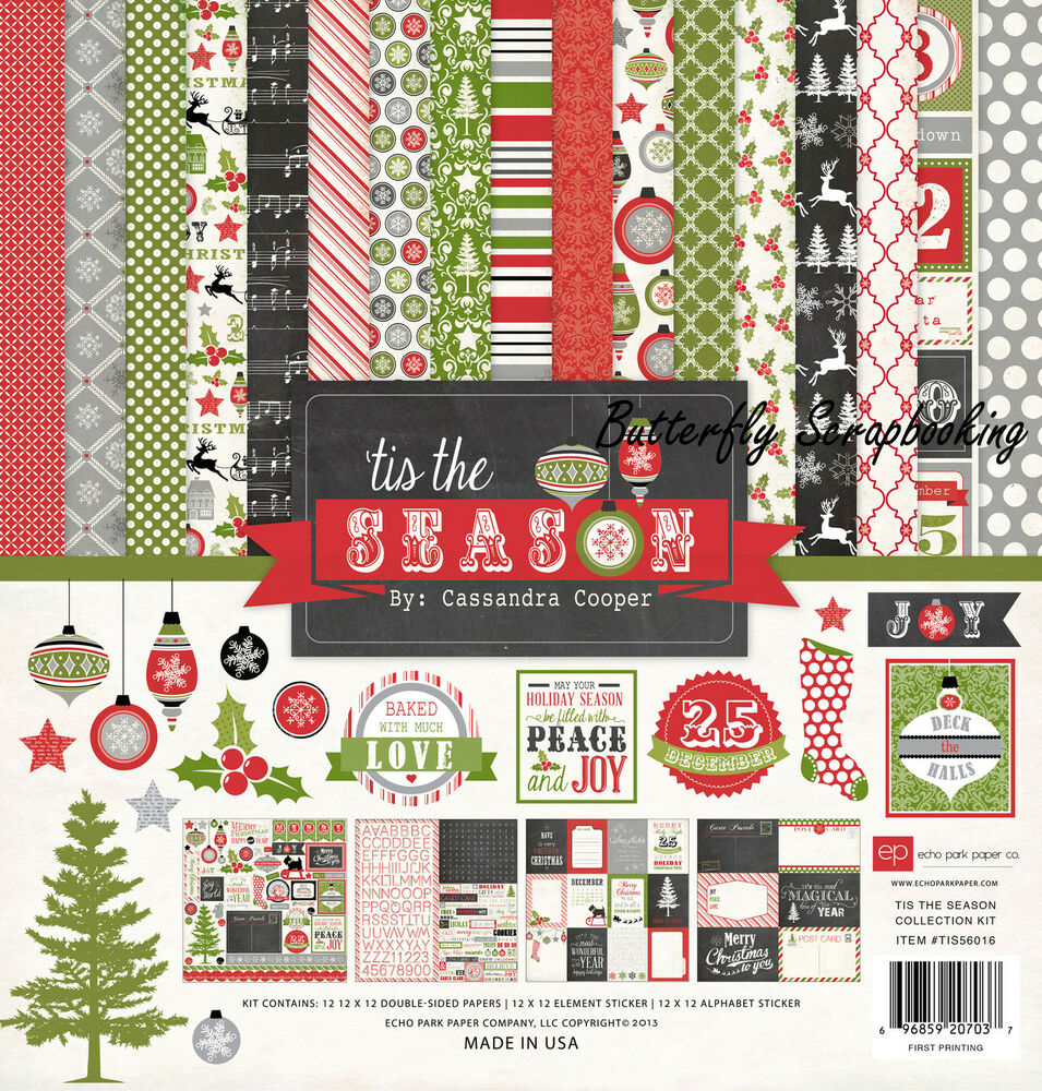 christmas tis the season collection 12x12 scrapbooking kit echo park paper c new ebay. Black Bedroom Furniture Sets. Home Design Ideas