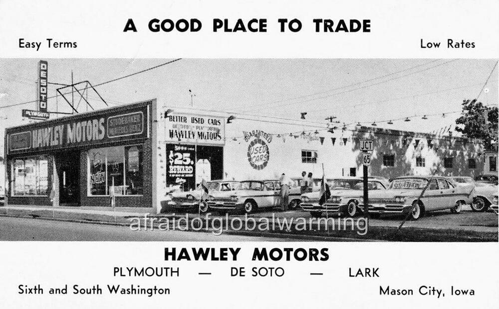 old photo mason city iowa hawley motors desoto plymouth lark auto dealership ebay. Black Bedroom Furniture Sets. Home Design Ideas
