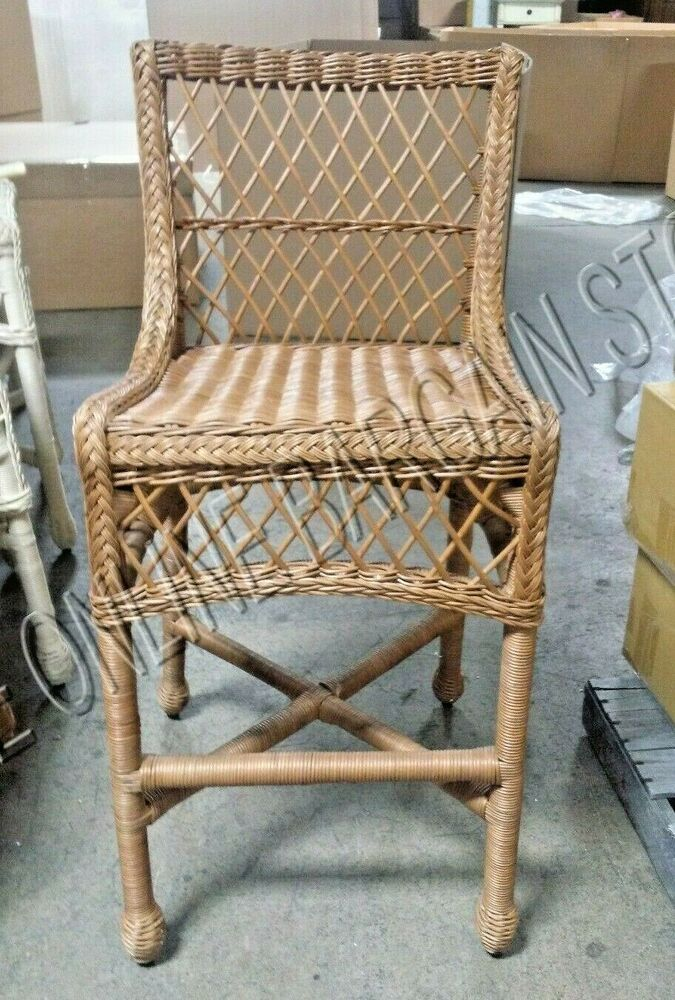 Pottery Barn Delaney Rattan Wicker Indoor Patio TALL Dining Chair Barstool Ho
