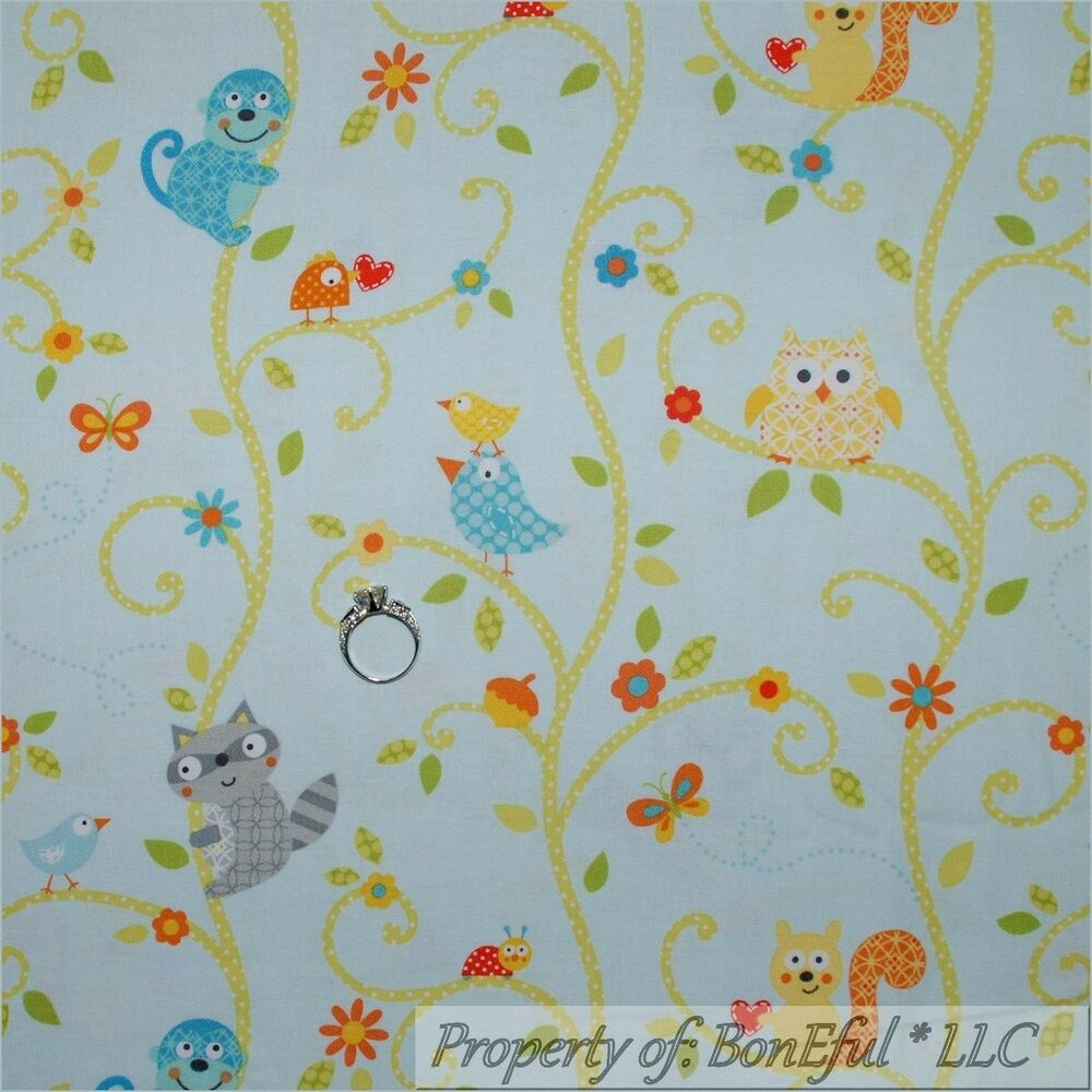 Boneful fabric fq cotton quilt blue baby boy nursery bird for Boy quilt fabric