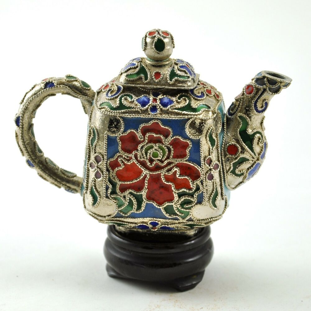 chinese cloisonne miniature copper metal teapot flower ebay. Black Bedroom Furniture Sets. Home Design Ideas