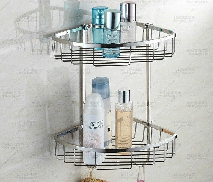 Stainless steel bathroom corner shelf storage basket - Bathroom storage baskets shelves ...