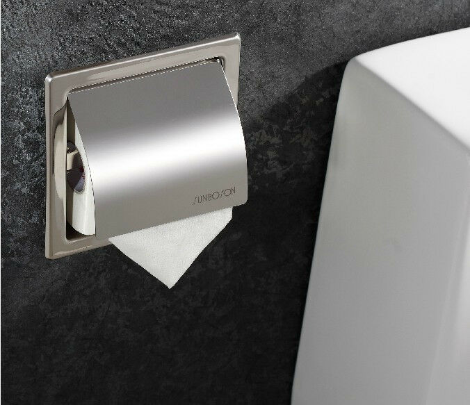 Stainless Steel Chrome Toilet Paper Holder Embedded Wall