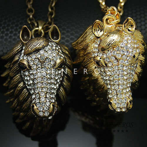 Horse Head Pendant Chain Necklace Animal Jewelry Gold