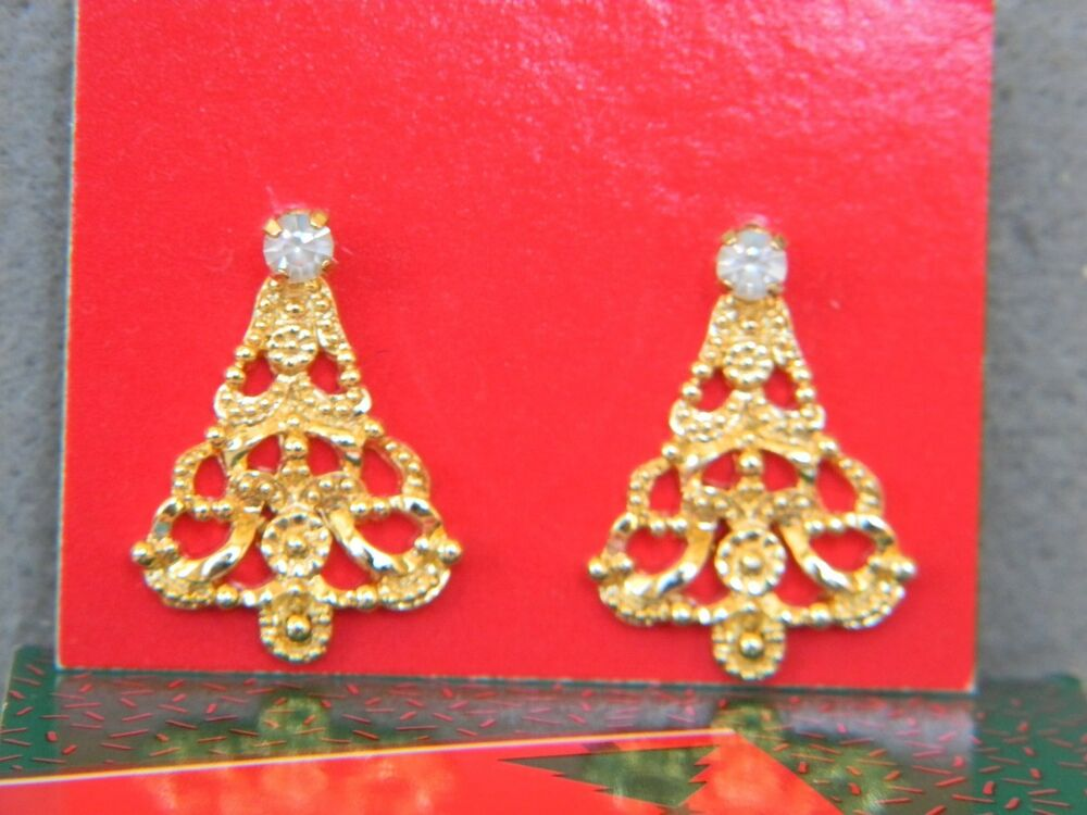 VINTAGE 1990 AVON CONVERTIBLE CHRISTMAS TREE EARRINGS IN