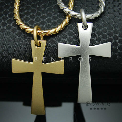 Simple Cross Pendant Chain Necklace Gold Silver Plated