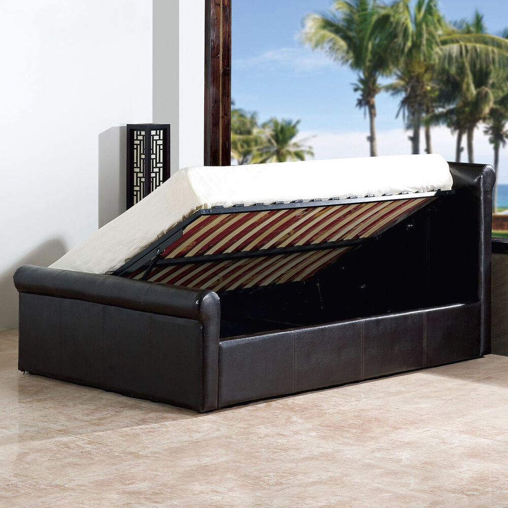 amazing faux leather side gas lift ottoman storage bed sleigh