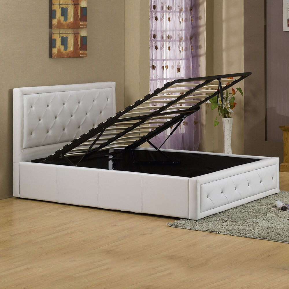 Black or white crystal gas lift storage bed in 4ft6 double - Lift up storage bed ...