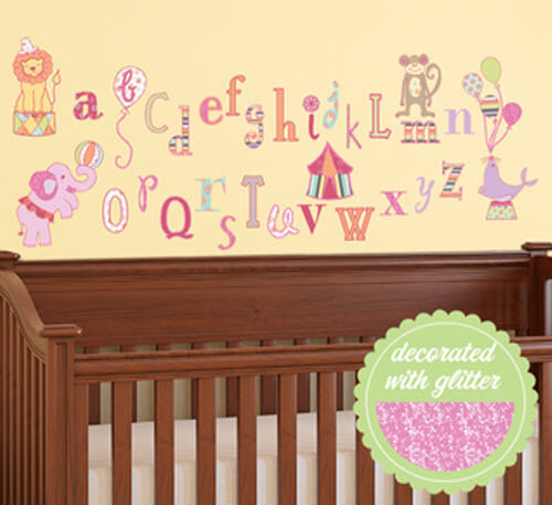 Circus alphabet letters wall stickers 33 decals school for Alphabet mural nursery