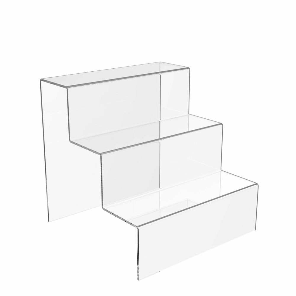 3 step display stand counter retail riser acrylic nail for Un stand
