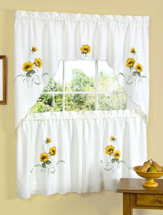 Sunshine Embellished Kitchen Curtain Tier And Swag Set By