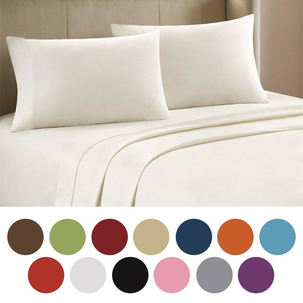 4 pc bed sheet set queen king cal king deep pocket sheets